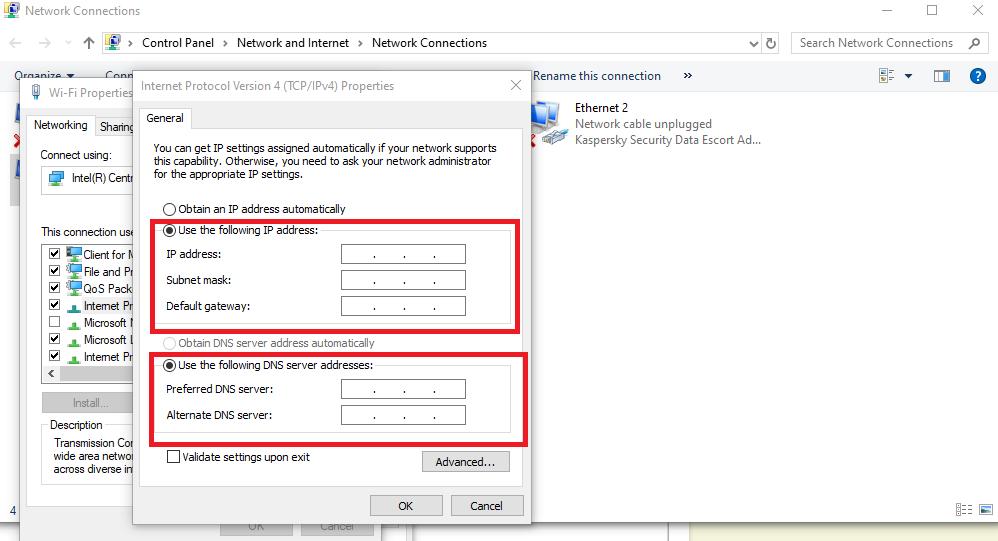 change dns server in windows